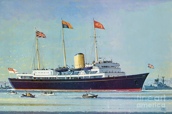 Floating Painting - Britannia, Floating Home Of Queen Elizabeth II And Prince Philip  by John S Smith