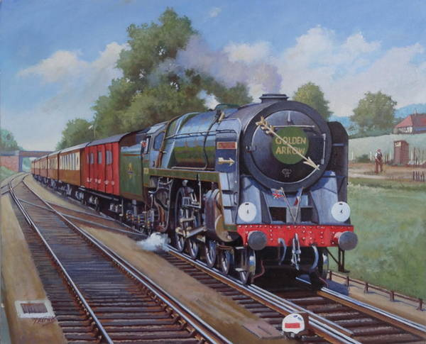 Wall Art - Painting - Britannia Pacific On The Golden Arrow. by Mike Jeffries
