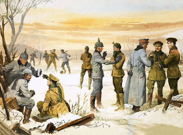 Wall Art - Painting - British And German Soldiers Hold A Christmas Truce During The Great War by Angus McBride