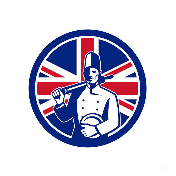 Wall Art - Digital Art - British Baker Union Jack Flag Icon by Aloysius Patrimonio