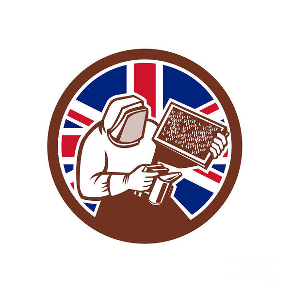 Beehive Digital Art - British Beekeeper Union Jack Flag Icon by Aloysius Patrimonio