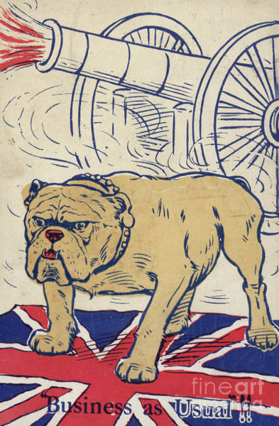 Wall Art - Drawing - British Bulldog Stading On The Union Flag And With A Cannon Firing by English School