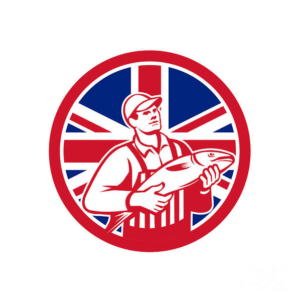 Wall Art - Digital Art - British Fishmonger Union Jack Flag Mascot by Aloysius Patrimonio