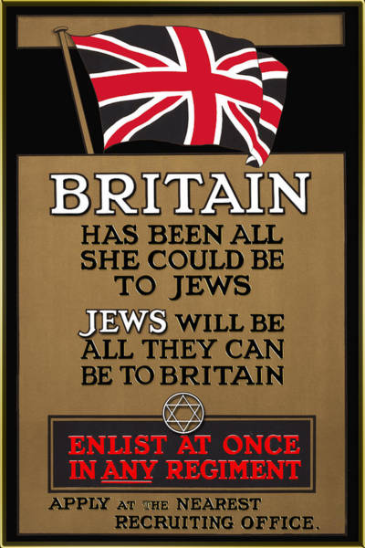 Digital Art - British Flag And The Magen David 1915 Poster - Remastered by Carlos Diaz
