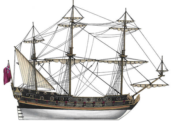 Wall Art - Painting - British Frigate 1680 by The Collectioner