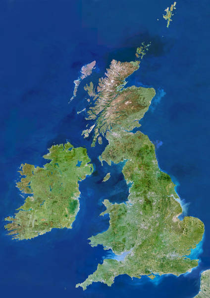 Wall Art - Photograph - British Isles, Satellite Image by Planetobserver