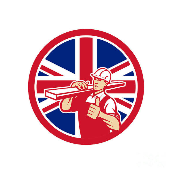 Wall Art - Digital Art - British Lumber Yard Worker Union Jack Flag Icon by Aloysius Patrimonio