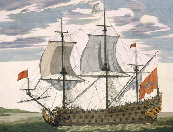 Galleons Wall Art - Drawing - British Navy by Pierre Mortier