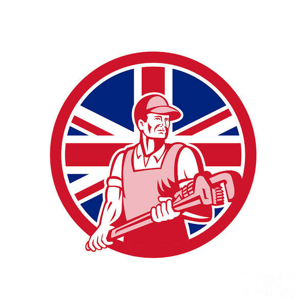 Wall Art - Digital Art - British Plumber And Gasfitter Union Jack Icon   by Aloysius Patrimonio