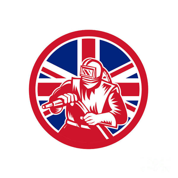 Wall Art - Digital Art - British Sandblaster Union Jack Flag by Aloysius Patrimonio