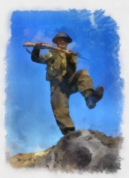 Attack Painting - British Soldier Wwii Attack by Esoterica Art Agency