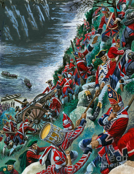 Quebec Painting - British Soldiers Make The Arduous Ascent Of The Heights Of Abraham To Take Quebec by Peter Jackson