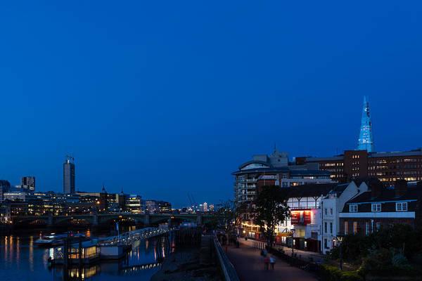 Bankside Photograph - British Symbols And Landmarks - Shakespeare Globe Blue Hour In London England by Georgia Mizuleva