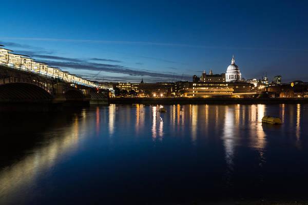 Photograph - British Symbols And Landmarks - Silky Reflections Saint Paul Cathedral And Blackfriars Bridge by Georgia Mizuleva