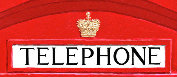 Mixed Media - British Telephone Box Sign by Mark Tisdale