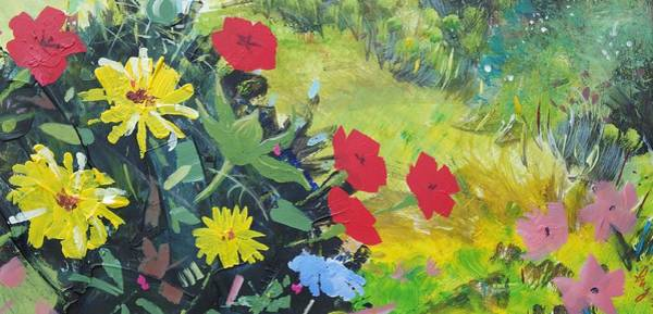 Mixed Media - British Wild Flowers In Hedgerow by Mike Jory