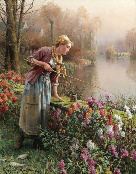 Wall Art - Painting - Brittany Girl Fishing by Daniel Ridgway Knight