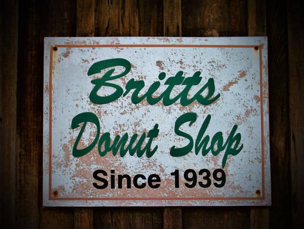 Secret Recipe Photograph - Britt's Donut Shop Sign 1 by Cynthia Guinn
