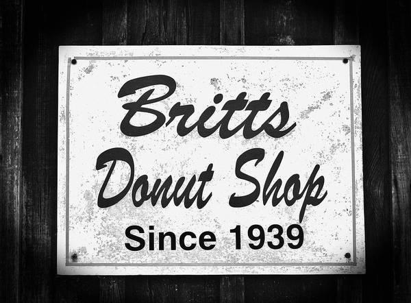 Photograph - Britt's Donut Shop Sign 2 by Cynthia Guinn