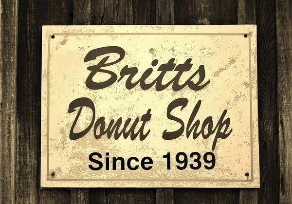 Photograph - Britt's Donut Shop Sign 3 by Cynthia Guinn