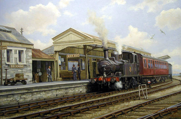 0 Wall Art - Painting - Brixham Station 1950. by Mike Jeffries