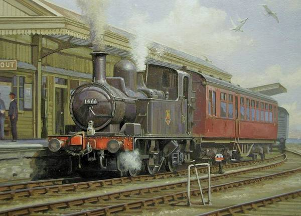 Wall Art - Painting - Brixham Station 1950s. by Mike Jeffries