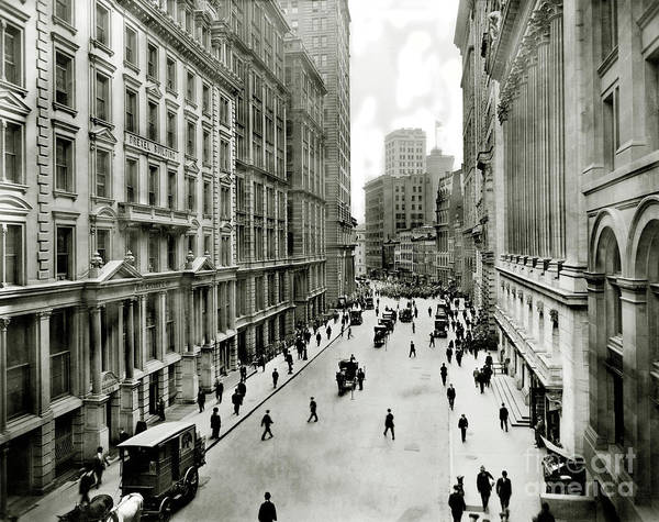 Wall Art - Photograph - Broad St South Of Wall Street 1911 by Jon Neidert