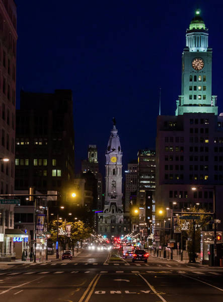 Photograph - Broad Street At Night - City Hall by Bill Cannon