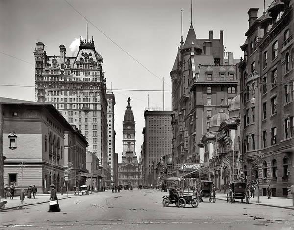 Cityhall Photograph - Broad Street Philadelphia 1905 by Bill Cannon