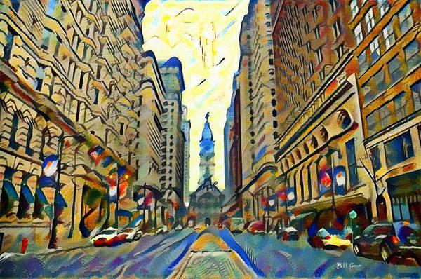 Philly Digital Art - Broadstreet Philadelphia Watercolor by Bill Cannon
