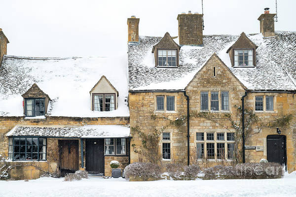 English Cottage Photograph - Broadway Cottages In The Snow by Tim Gainey