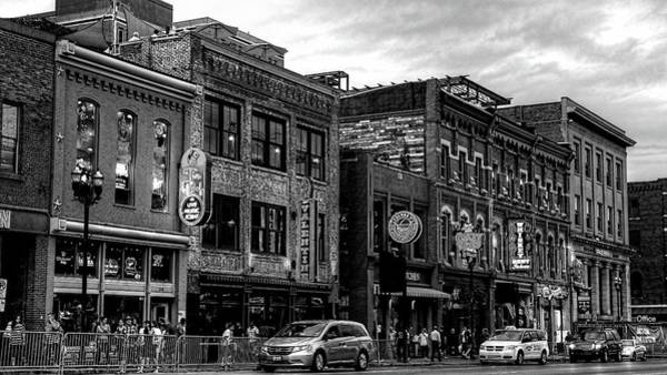 Photograph - Broadway Street Nashville Tennessee In Black And White by Carol Montoya