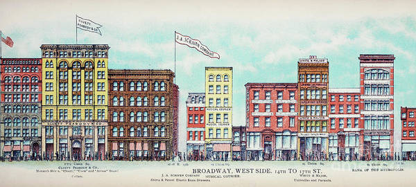 Shops Drawing - Broadway West Side by Delphimages Photo Creations