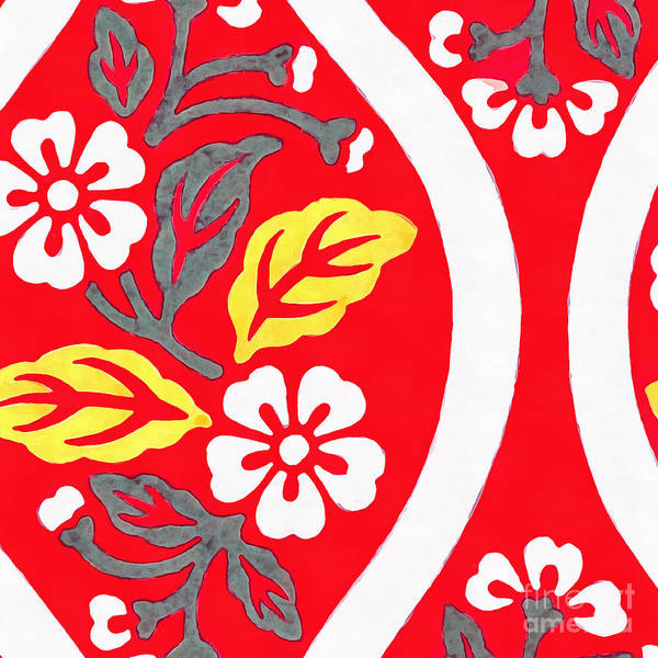 Photograph - Brocade Pattern With Cherry Blossoms And Wave Designs On Red  by Edward Fielding