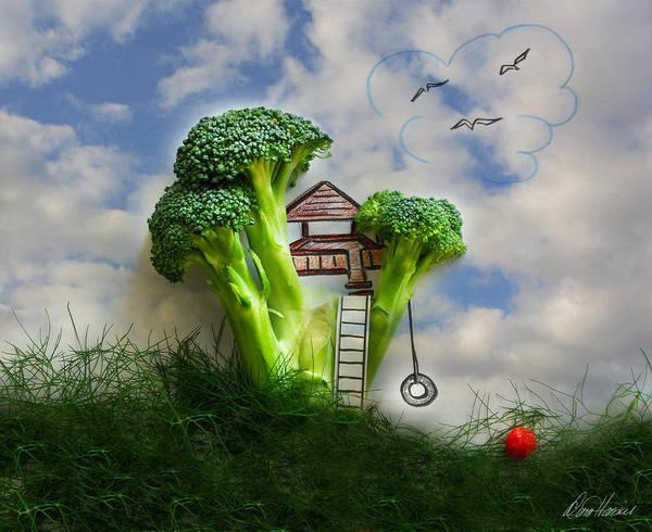 Mixed Media - Broccoli Treehouse by Diana Haronis