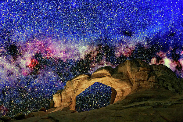 Digital Art - Broken Arch Night Sky Design by OLena Art - Lena Owens