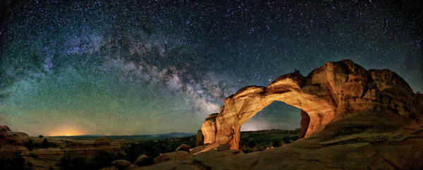 Photograph - Kissing Camels With The Rising Milky Way by OLena Art - Lena Owens