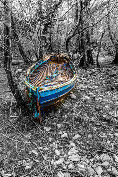 Gaelic Photograph - Broken Blue Boat by W Chris Fooshee