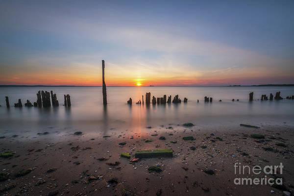 Sandy Hook Wall Art - Photograph - Broken Pilings Sunset  by Michael Ver Sprill
