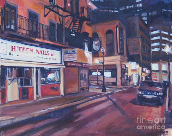 Painting - Bromfield Street At Night by Deb Putnam