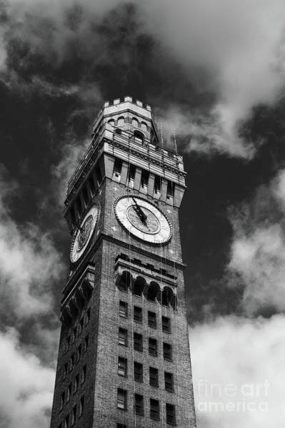 Photograph - Bromo-seltzer Clock Tower In Black And White Baltimore by James Brunker