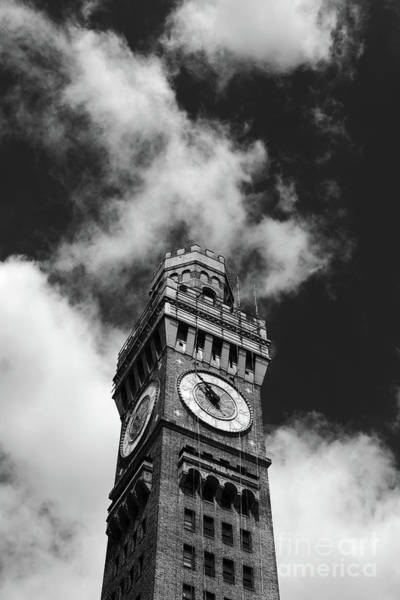 Photograph - Bromo-seltzer Clock Tower In Monochrome Baltimore by James Brunker