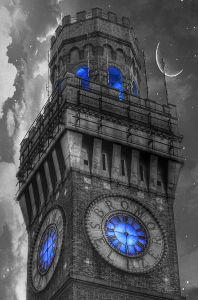 Clock Tower Photograph - Bromo Seltzer Tower Baltimore - Blue  by Marianna Mills