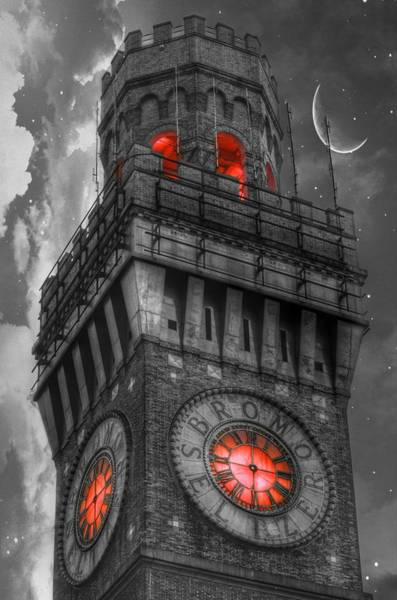 Photograph - Bromo Seltzer Tower Baltimore - Red Clock by Marianna Mills
