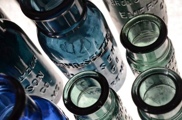 Photograph - Bromo Seltzer Vintage Glass Bottles - Rare Green And Blue by Marianna Mills