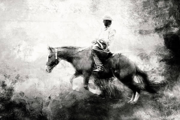 Wall Art - Photograph - Bronc Versus Rider In Black And White by Toni Hopper