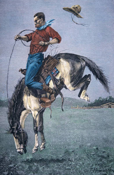 Reins Painting - Bronco Buster by Frederic Remington