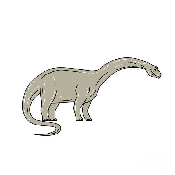 Wall Art - Digital Art - Brontosaurus Dinosaur Looking Down Mono Line by Aloysius Patrimonio