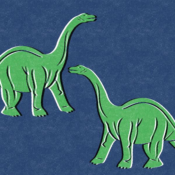 Kid Wall Art - Mixed Media - Brontosaurus by Linda Woods
