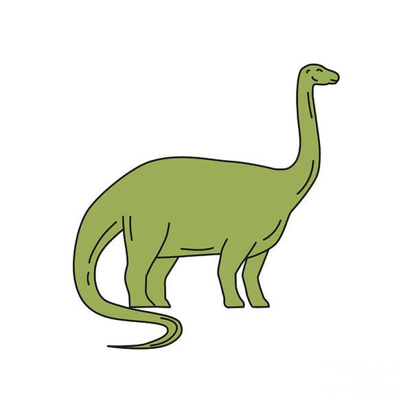 Wall Art - Digital Art - Brontosaurus Mono Line by Aloysius Patrimonio